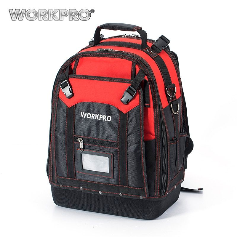 WORKPRO New Tool Backpack Tradesman <font><b>Organizer</b></font> Bag Waterproof Tool Bags Multifunction knapsack with 37 Pockets