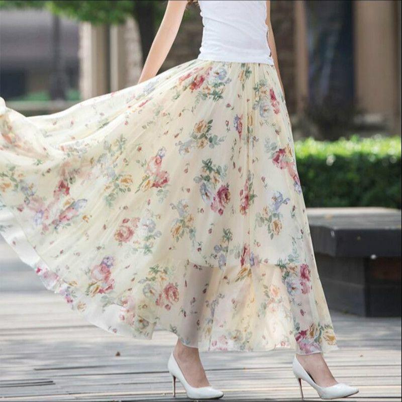 2017 новые летние модные повседневные пикантные шифон с цветочным принтом в богемном стиле женские юбки для девочек одежда