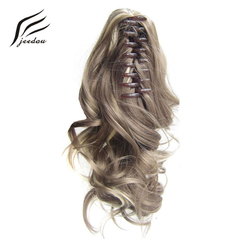 jeedou Short Wavy Synthetic Ponytails Hair Extensions Claw Ponytail 16