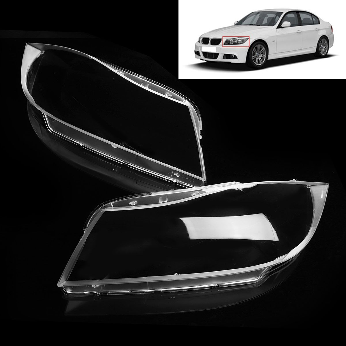 2Pcs Polycarbonate Headlamp Headlight Clear Lens Replacement Covers Case Shell Only XENON for BMW 3 E90 Sedan / E91 Touring