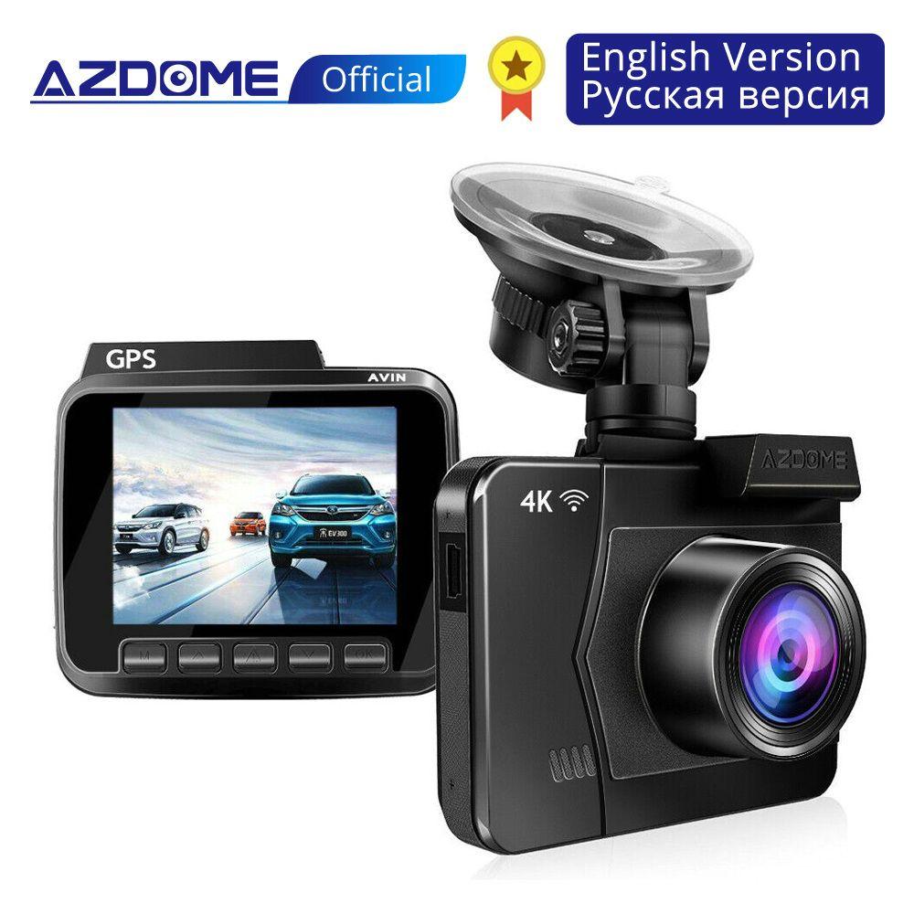 AZDOME M06 4K/2880*2160P WiFi Car DVRs Recorder Dash Cam Dual Lens Vehicle Rear Camera Built in GPS WDR Night Vision Dashcam