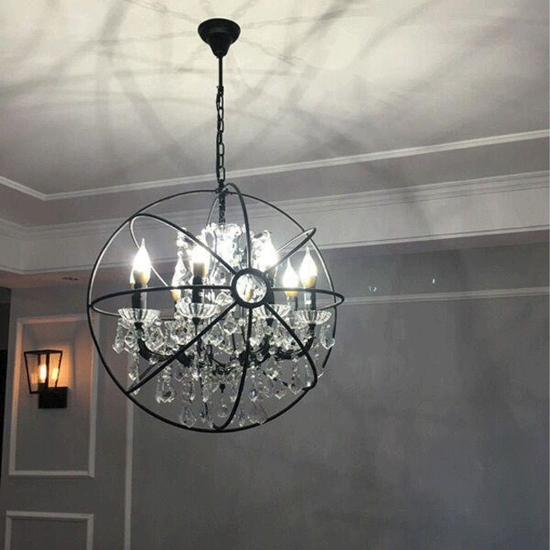 Modern Crystal Orb Chandelier Lamp Lighting RH Rustic Candle Chandeliers Vintage LED Pendant Hanging Chain Dinning Light