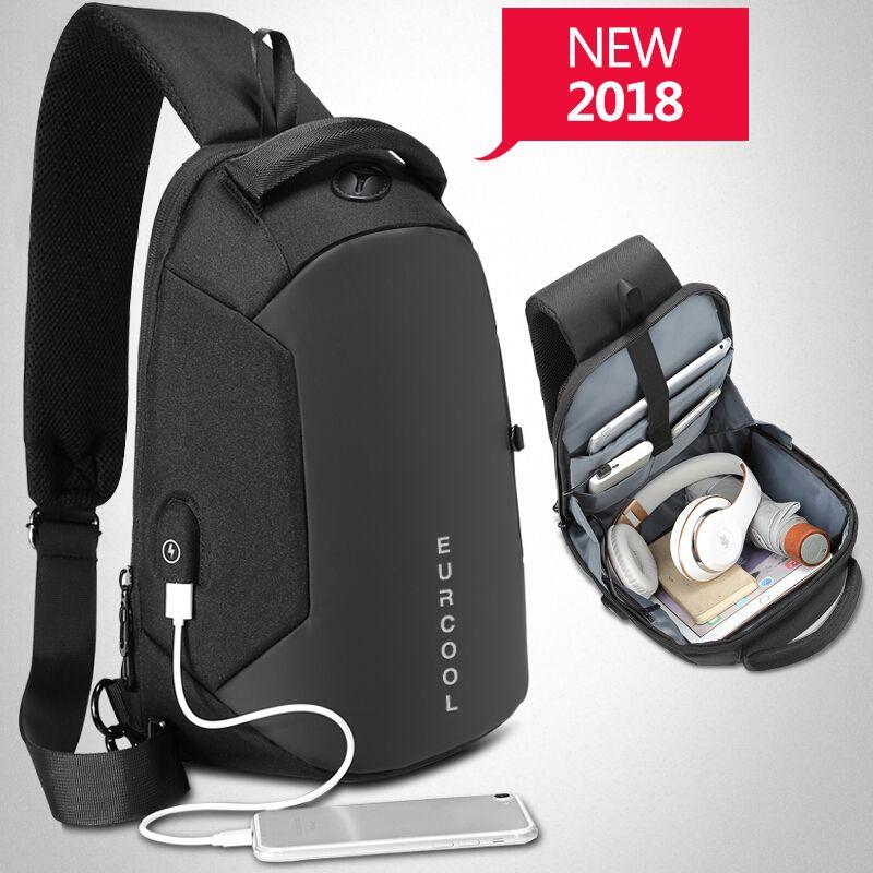 Multifunction Crossbody Bags Men USB Charging Chest Pack Short Trip Messengers Chest Bag Water Repellent Shoulder Bag Male n1825