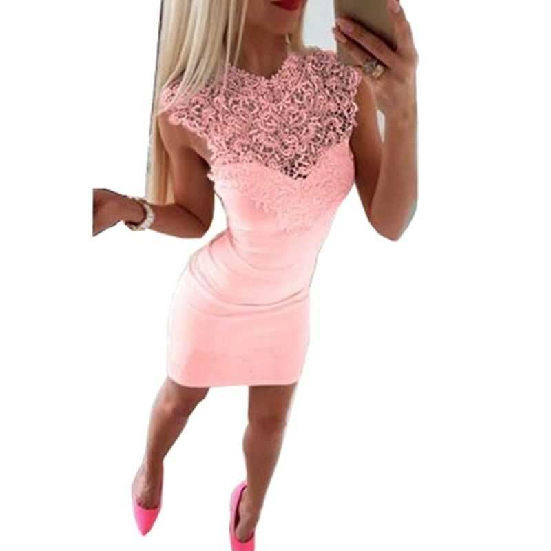DeRuiLaDy Sexy Hollow Lace Patchwork Mini Dress Female Summer Black White Sleeveless Bodycon Dresses 2018 Casual Party Dress