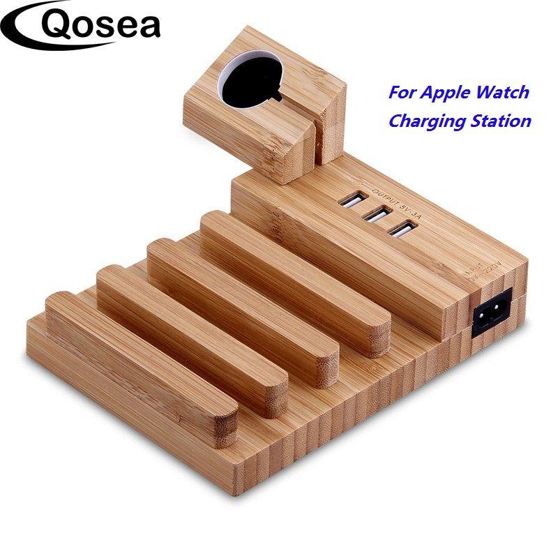 Qosea Bambou Bois USB Station De Recharge Bureau Stand Chargeur 4 USB Ports Pour iPhone X 8 Plus Apple Montre 3 42mm iPad et Tablet PC