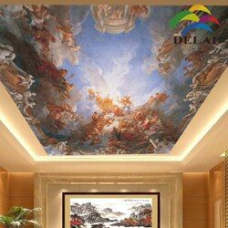 2016 soundproof ceiling tiles OP-035  European oil painting decorative material printing stretch film