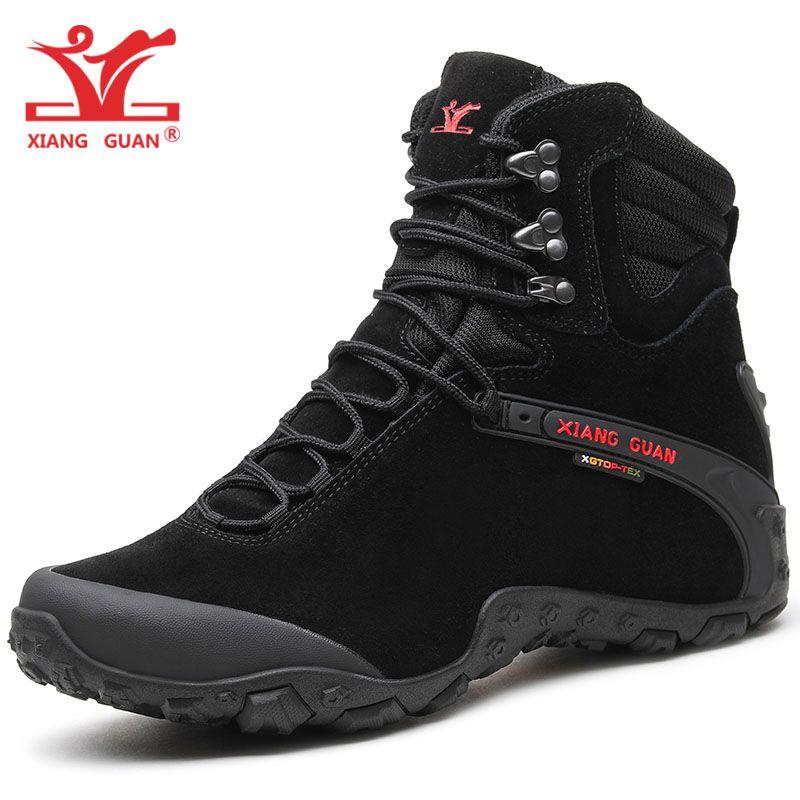 XIANG GUAN Man Hiking Shoes Men Cow Leather High Top Trekking Boot Black Waterproof Sport Climbing Shoe Outdoor Walking Sneakers