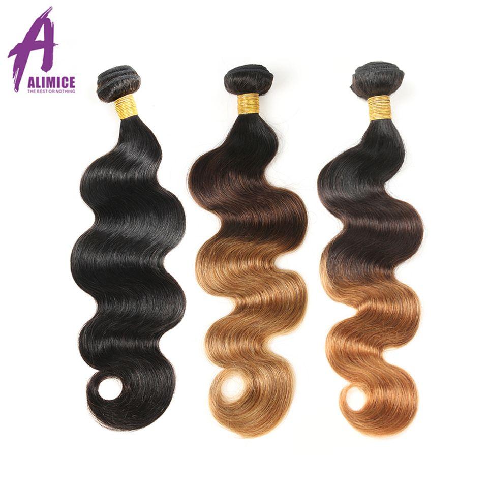 Cheveux en aluminium vague de corps malaisienne Ombre paquets de cheveux paquets de cheveux Extensions de cheveux humains #1b/4/27/30 couleur cheveux armure paquets NonRemy