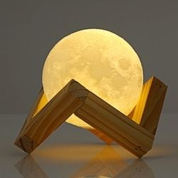 Original Rechargeable 3D Print Moon Lamp 2 Color Change Touch Switch Bedroom Bookcase Night Light Home Decor Creative Gift 2018