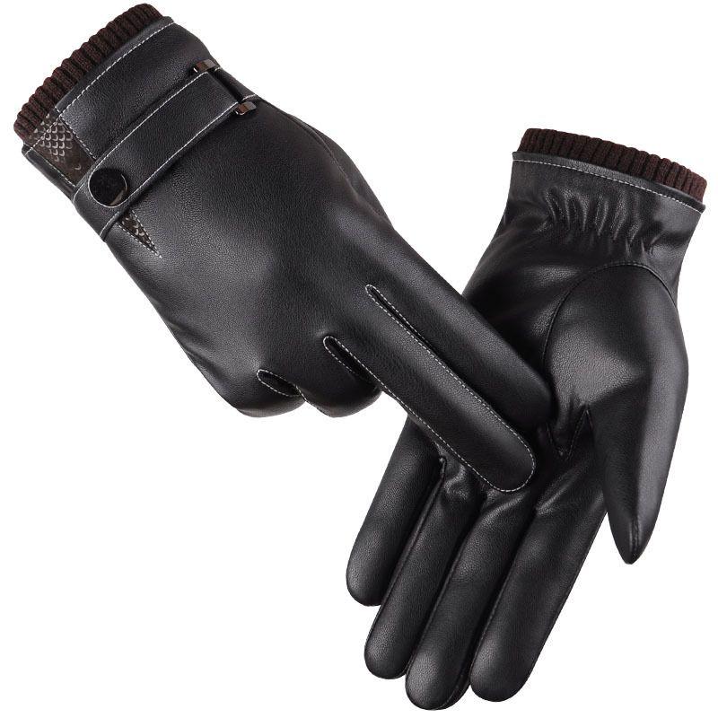 Hommes Gants de Mitaines D'hiver Garder Au Chaud Tactile Écran Coupe-Vent Gants de Conduite 2016 Mâle Automne Hiver Gants En Cuir Noir Gants