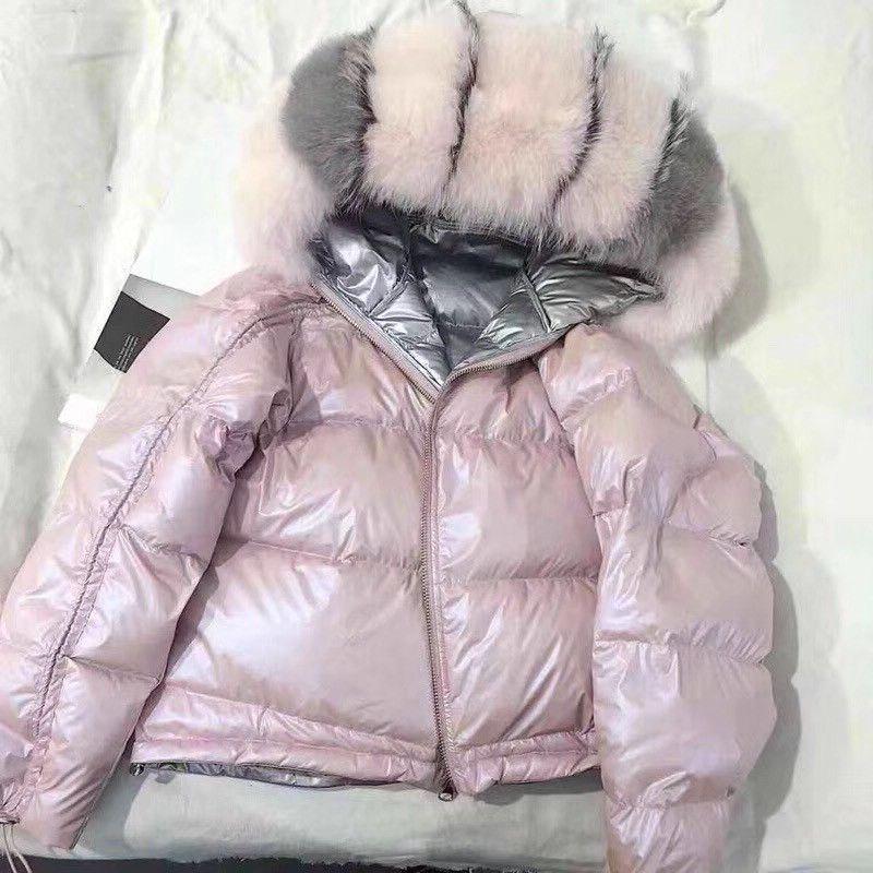 Real Fur Coat Natural Fox Fur Collar 2019 Winter Jacket Women Loose Short Down Coat White Duck Down Jacket Thick Warm Down Parka