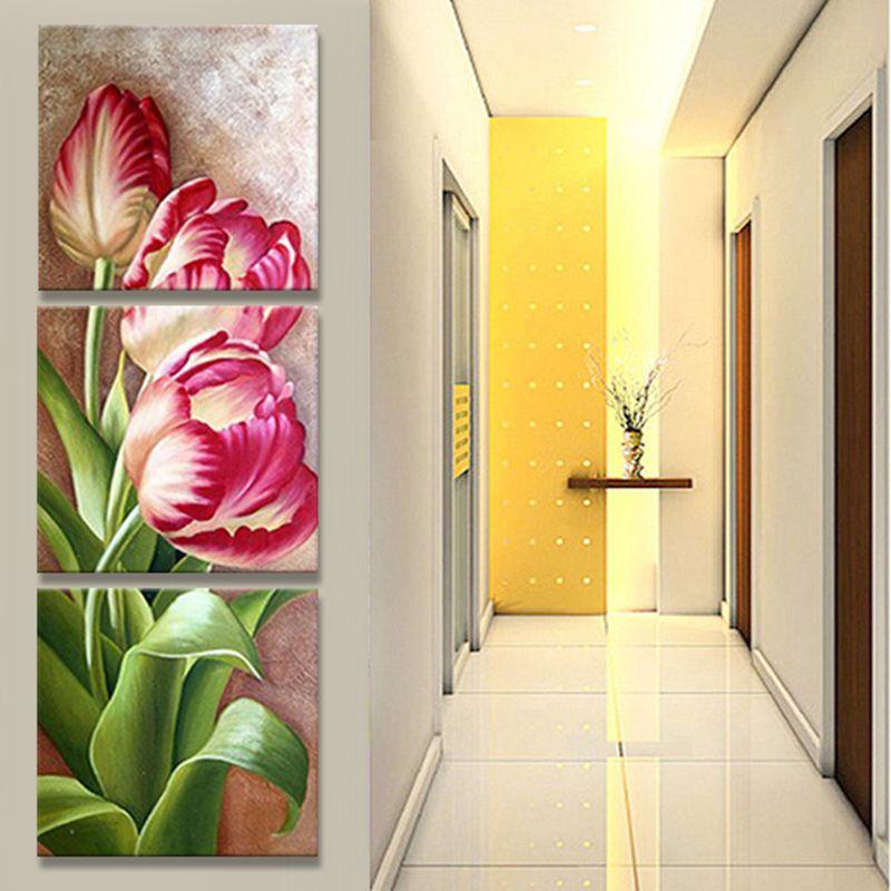 Jhljiajun Nordic модульные картины холст Триптих плакат Тюльпан цветы стены картину для Гостиная стены Книги по искусству маслом плакат