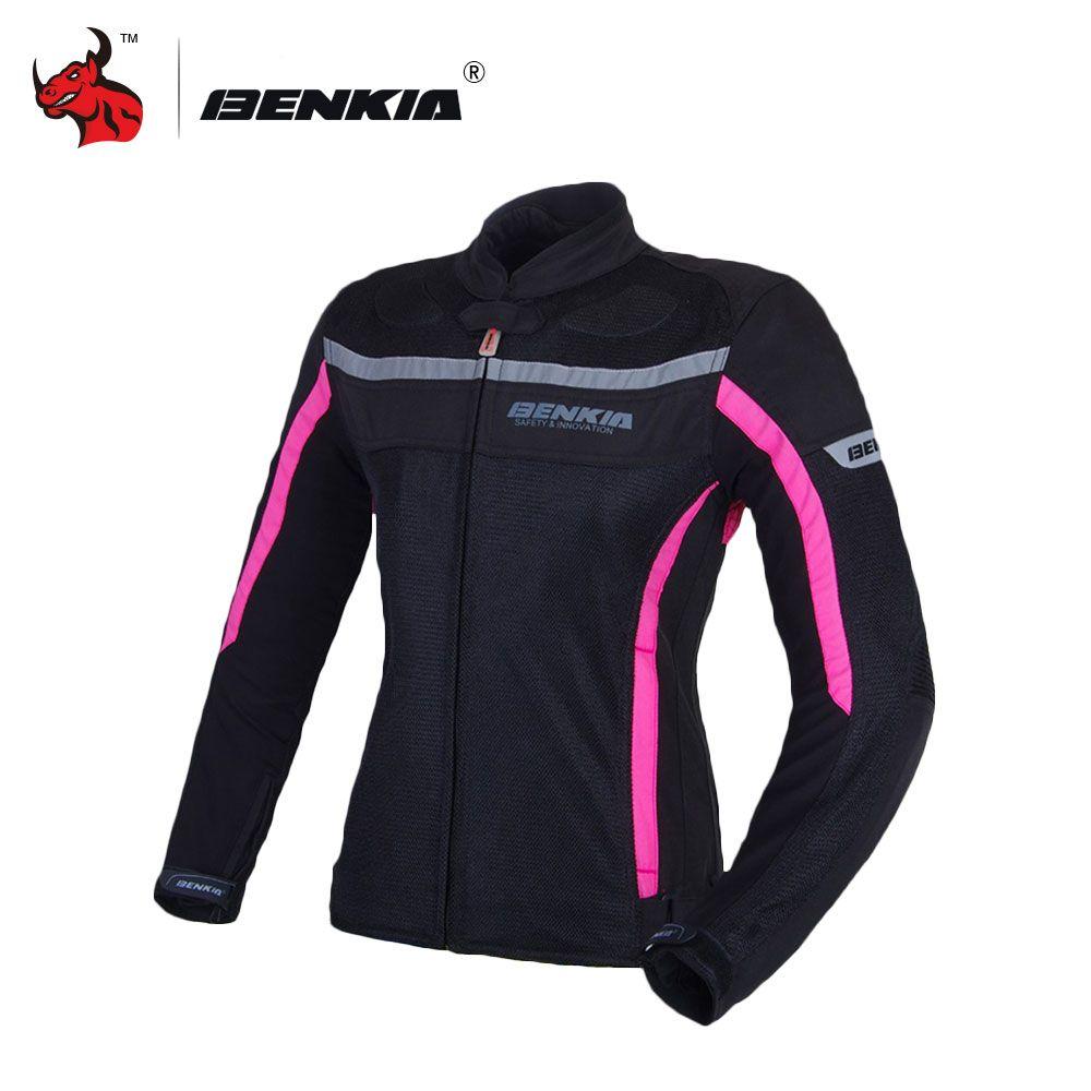 BENKIA Motorcycle Jackets Women's Mesh Moto Jacket Motocross Riding Equipment Gear Summer Breathable Motorcycle Clothing