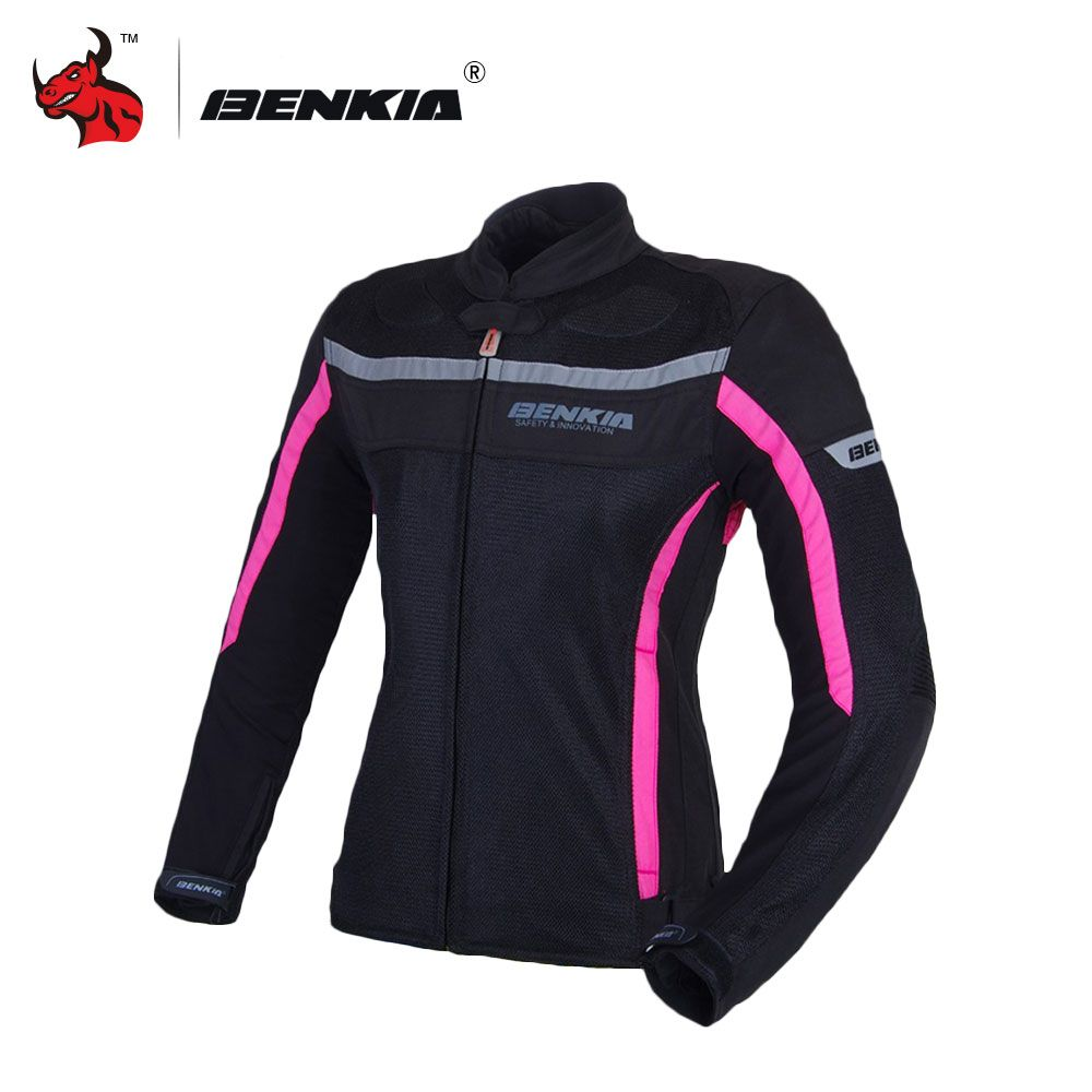 BENKIA Motorcycle Jackets Women's Mesh Moto Jacket Motocross Riding Equipment Gear Summer Breathable Motorcycle Clothing