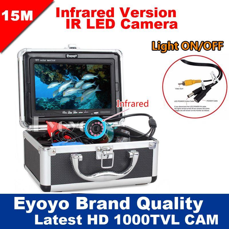 Eyoyo Original 15M Professional Fish Finder Underwater Fishing Video Camera 7 Color HD <font><b>Monitor</b></font> 1000TVL HD CAM Lights ON/OFF