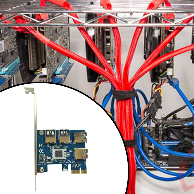 Hot PCI Express Riser Card PCI-E 1x to 16x 1 to 4 PCIE USB 3.0 Slot Multiplier Hub Adapter For Bitcoin Mining <font><b>Miner</b></font> BTC Machine