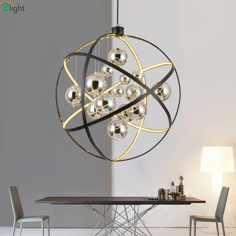 Moderne Schwarze Metall Led Pendelleuchte Chrom Glas Ball Wohnzimmer zimmer Led Pendelleuchte Esszimmer Pendelleuchte Led Hängen lichter