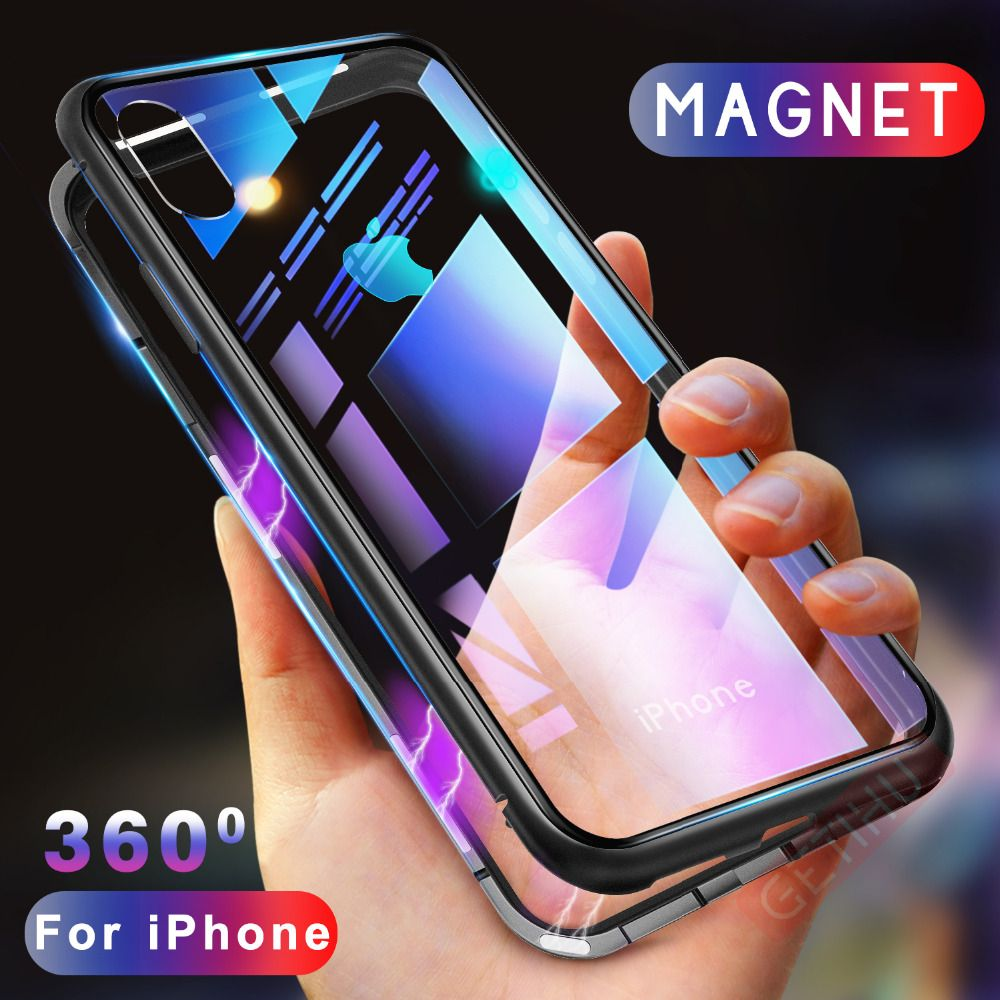 GETIHU Magnetic Adsorption Case for iPhone XR XS MAX X 8 Plus 7 6S + Metal Tempered Glass Back Cover for iPhone 7 6 6S Plus Case