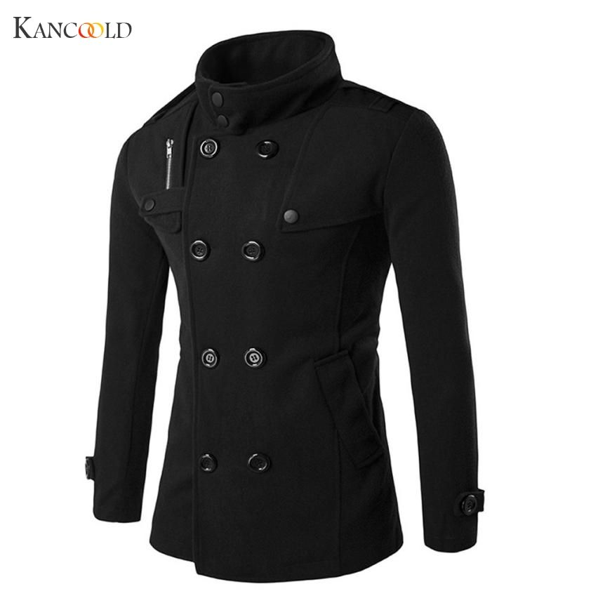 New Fashion Men Solid Slim <font><b>Trench</b></font> Coat England Style Long Jacket Overcoat Double Breasted British Style Overcoat No2