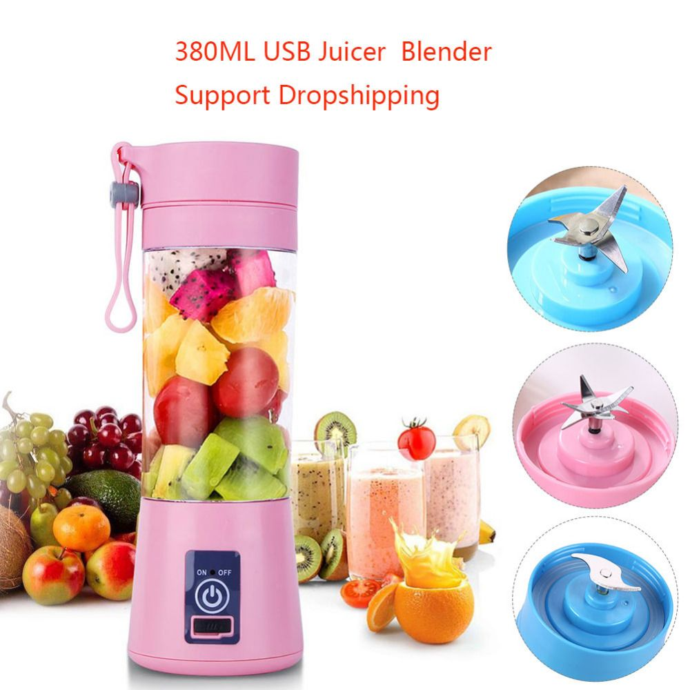 Electric Juicer Blender 380ml 2/4/6 Blades Portable Fruit Baby Food Milkshake Mixer Meat Grinder Multifunction Juice Machine New