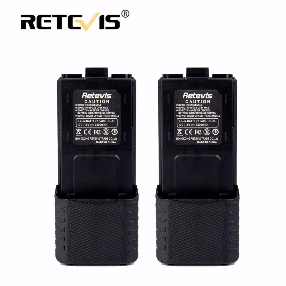 2pcs Large Capacity 2800mAh Li-ion Battery BL-5L For Baofeng Battery UV-5R UV5RB UV5RE Plus UV-8HX Retevis RT-5R For TYT TH-F8