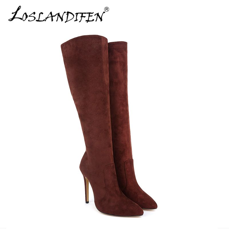 Femmes de bottes d'hiver Plus de Genou Solide Mode Velet Long Boot En Hiver Bout Pointu Talons hauts Mince avec des Chaussures 769-3VE