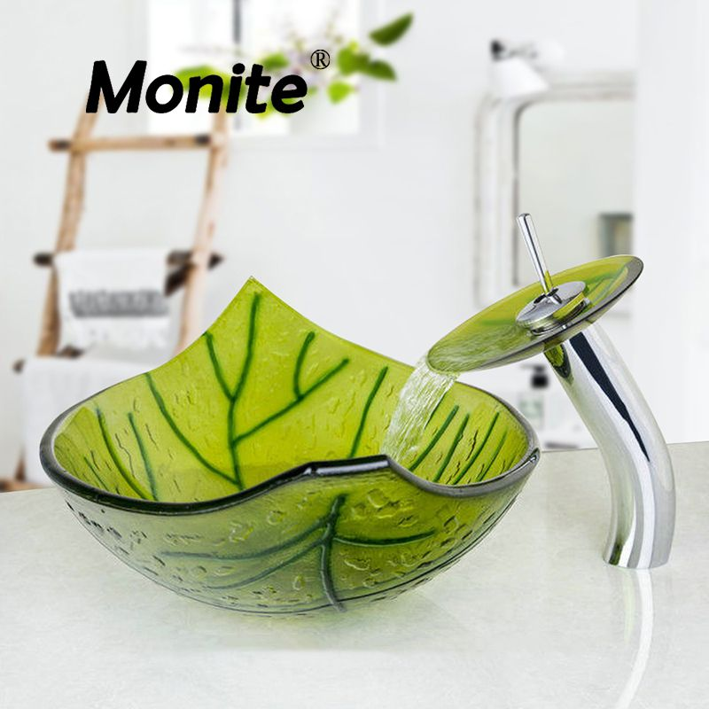 US Green Leaf Color Washbasin Tempered Glass Vessel Sink Set Brass Bathroom Sink Set With Waterfall Faucet Bathroom Faucets