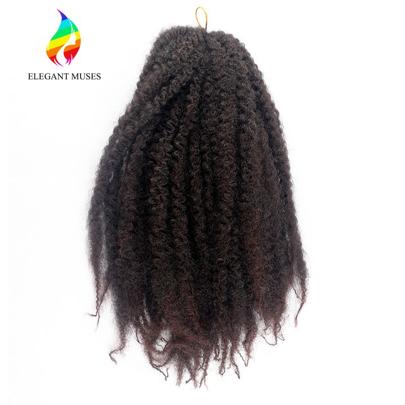 ELEGANT MUSES Crochet Hair Products 16 Inches Color 4 100g/pcs Synthetic Fiber Braids Afro Kinky Marley Brading Hair Extensions