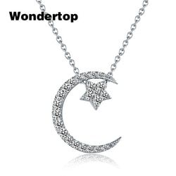 WONDERTOP Authentic Sterling Silver Moon Star Pendant Necklace with Clear Cubic Zircon for 2017 Winter Women Fine Jewelry