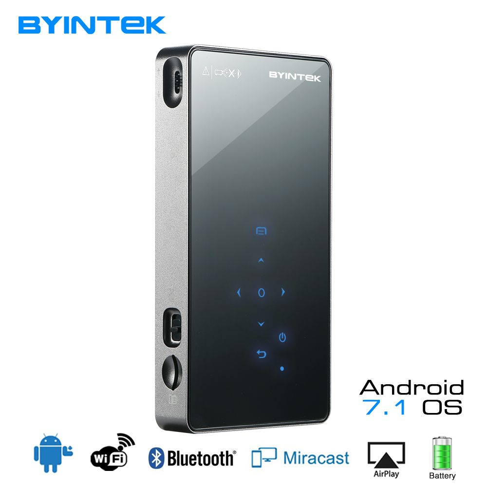 BYINTEK UFO P8I Android 7.1 OS Pico Pocket HD Portable Micro lAsEr WIFI Bluetooth Mini LED DLP Projector with Battery HDMI USB