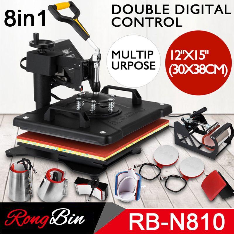 Doppel Display 8 in 1 Hitzepressemaschine Schaukel Weg Pull Out T shirt Pressmaschine für Phone Cases Tassen Tassen Teller Caps