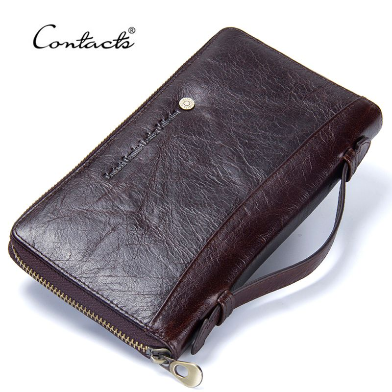 Genuine Leather Men Clutch Wallet Brand Male Card Holder Long Zipper Around Travel Purse With Passport Holder 5.7