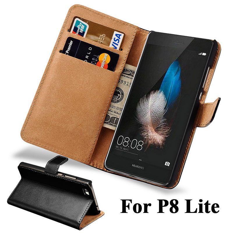 Brieftasche Flip Fall Für Huawei P8 Lite 2015 Pu-leder Abdeckung Hartplastik Zurück Mit Kartenhalter P8 Lite 2015 Coque Capinha schwarz