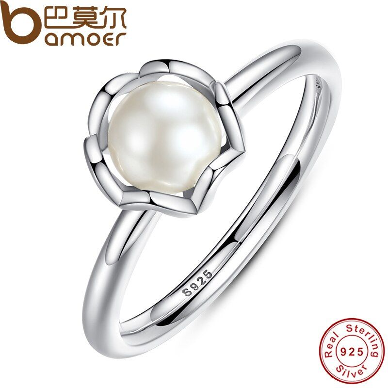 Original 925 Sterling SILVER RING WITH WHITE FRESH WATER CULTURED PEARL Authentic Cultured Elegance Pearl Jewelry PA7118