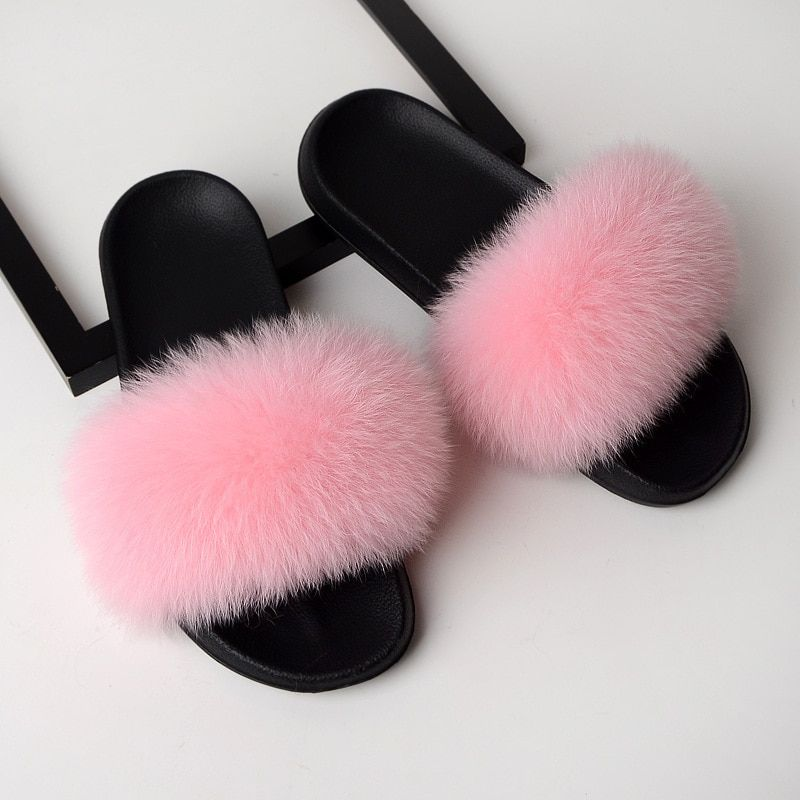 Women Solid Shoes Fur Slides Summer Shoes Outside
