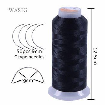 Livraison gratuite 50 pcs 9 cm longueur C type tissage aiguilles Courbes aiguilles et 1 rouleau Bobines de fil de tissage pour les cheveux trame