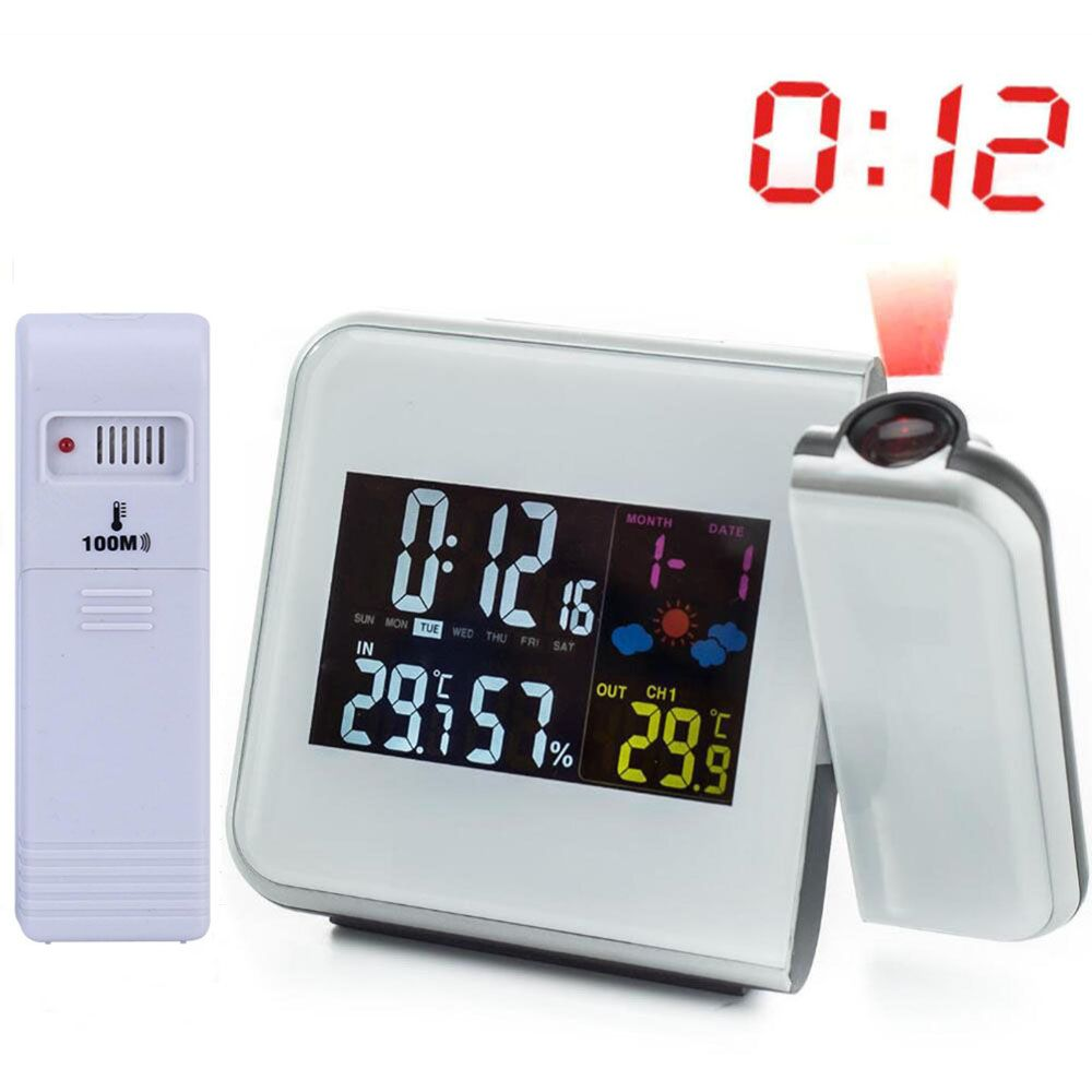 Digital Weather Station Wireless RCC Radio Controlled Time Alarm Clock with Outdoor <font><b>Temperature</b></font> Thermometer Humidity Hygrometer