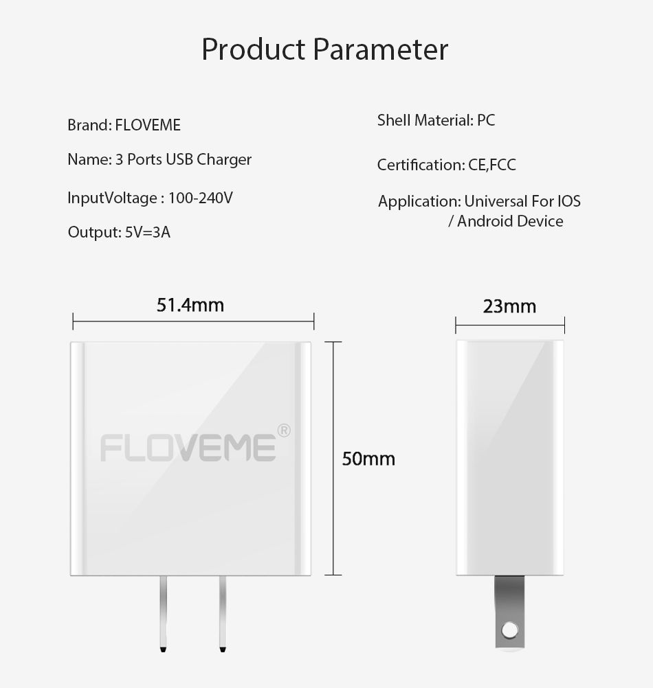 FLOVEME USB Charger Travel Wall Fasting Charging USB Adapter 5V 3A 3 Ports LCD Display For iPhone Samsung Huawei Charger Laptop (13)