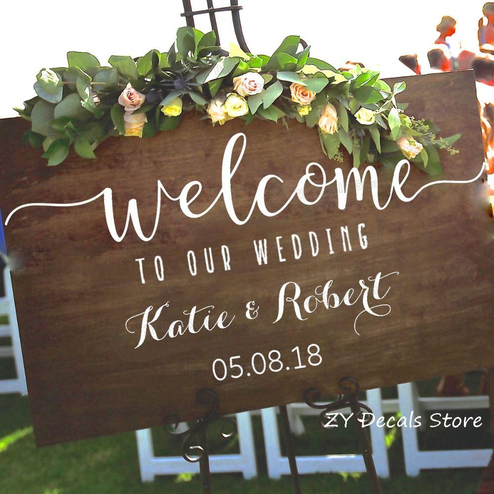 Autocollants de signe de bienvenue de mariage autocollant de décoration de mariage en bois rustique autocollant en vinyle personnalisé S701