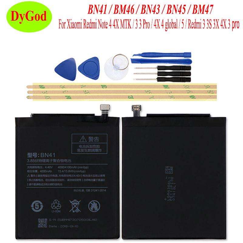 BN41 BM46 BN43 BN45 BM47 Batterie pour Xiaomi Redmi Note 4 MTK/Note 4X Global/Redmi Note 3 5/Redmi 3 S 3X4X3 Pro Batterie Bateria