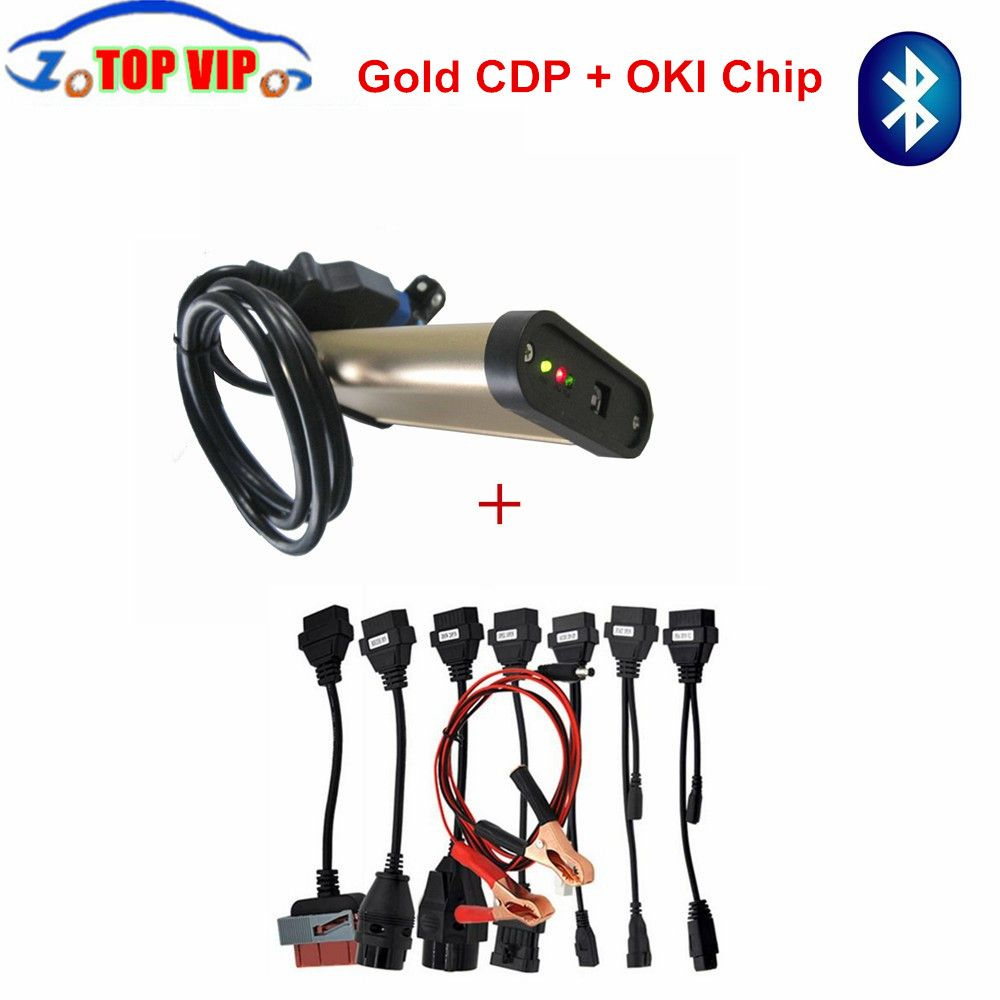 2018 Gold TCS CDP With bluetooth + OKI chip 2015 R1 Newest TCS CDP Pro + Full set 8 car cables auto diagnostic tool OBD2 Scanner