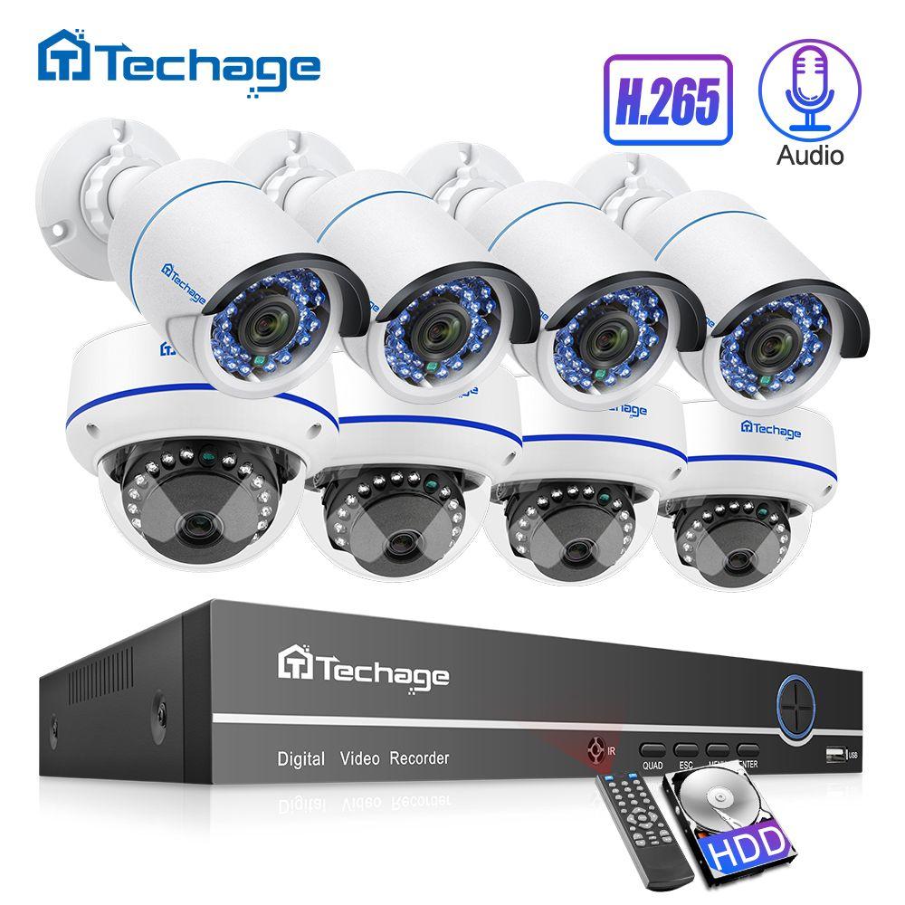 H.265 8CH 1080P POE NVR Kit Audio Sound CCTV System 2.0MP Dome Sicherheit Ip-kamera P2P IR Indoor Outdoor video Überwachung Set