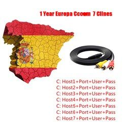 1 año Cccam Clines Europa 7 líneas portugal españa para DVB-S2 DVB-T2 lnb satélite V7 HD V8 Super Receptor A través de USB WIFI