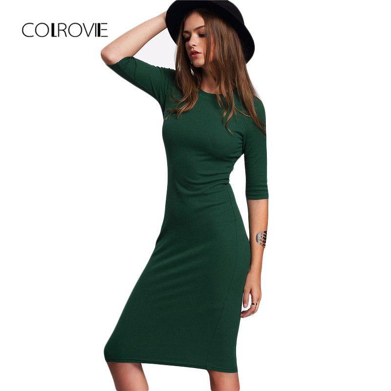 COLROVIE Work Summer Style <font><b>Women</b></font> Bodycon Dresses Sexy Casual Green Crew Neck Half Sleeve Midi Dress