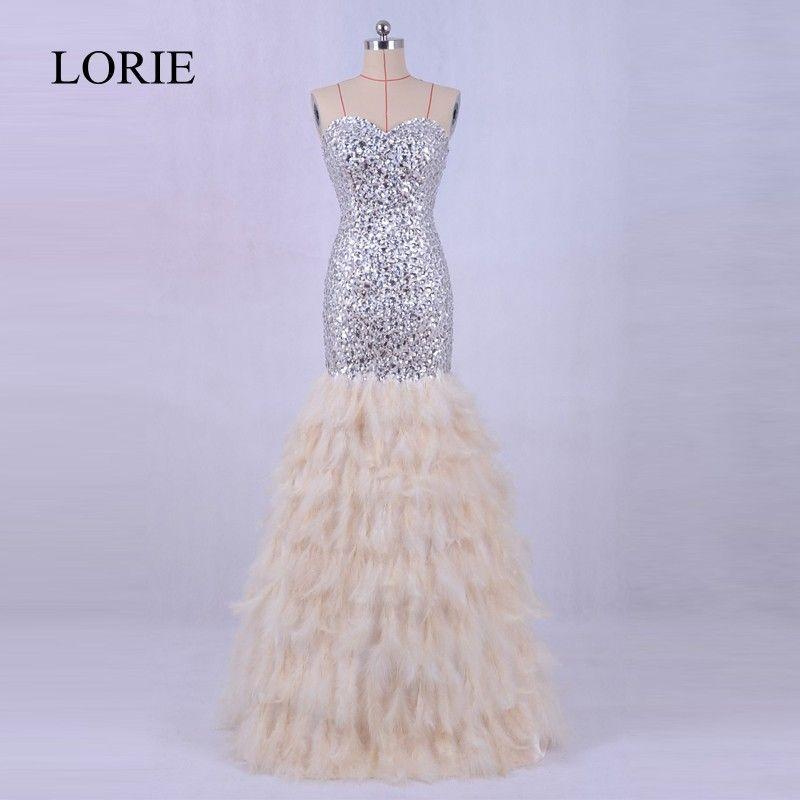 Luxus Feder Meerjungfrau Abendkleid Robe De Soiree 2017 Solde LORIE Kristalle Bling Prom Party Formal Lange Kleider Für Hochzeiten
