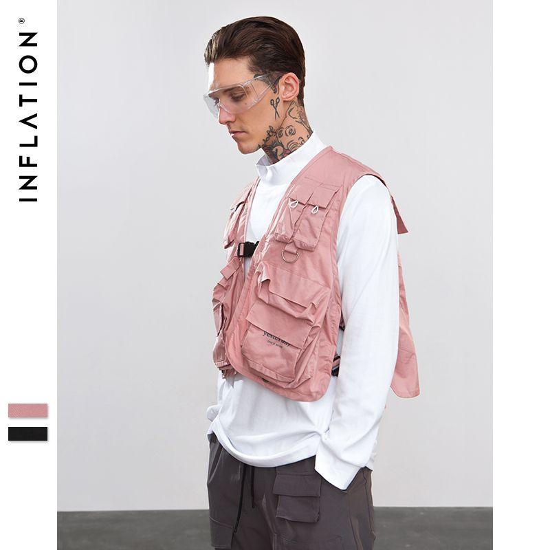 INFLATION Adjustable Eye-splice Vest Men Casual Coat Vest Summer Autumn Fashion Streetwear Tactical Thin Vest Sportswear 8728W