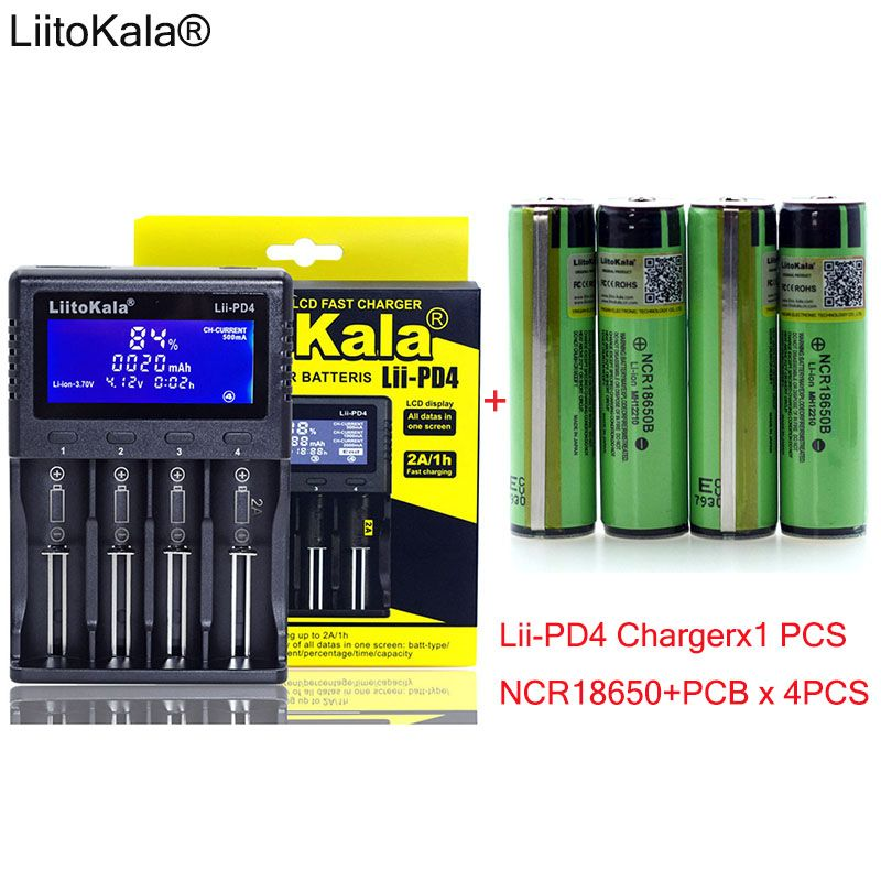 1pcs New LiitoKala lii-PD4 LCD 3.7V 18650 21700 battery Charger+ 4pcs Protection NCR18650B 3400mAh with PCB 3.7V batteries