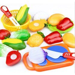 1 Set New Children Play House Toy Cut Fruit Plastic Vegetables Kitchen Toy Baby Classic Kids Toys Pretend Educational Toys