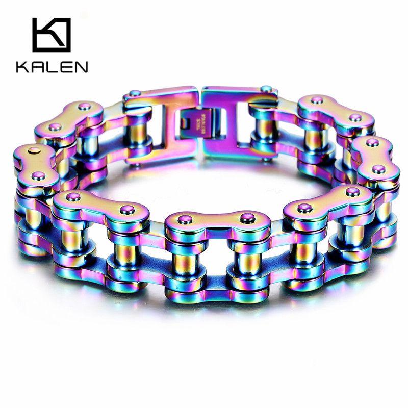 Kalen Fashion Colorful Bike Chain Bracelets For Men 316 Stainless Steel Gray Pride Rainbow Color Motorcycle Link Chain Bracelets