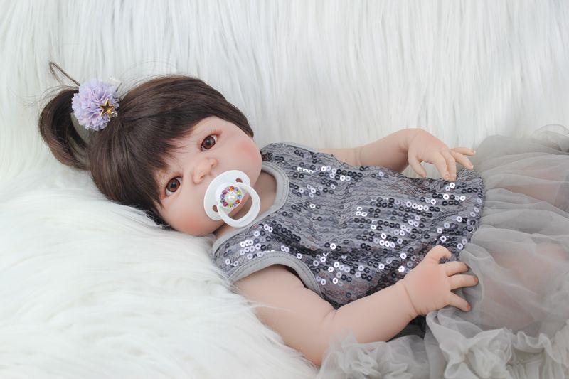 Full Silicone Body Reborn Baby Doll Toys Realistic 22 inch Newborn Girl Babies Dolls For Kid Fashion Birthday Present Bathe Toy